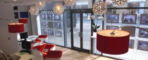 estate agent in birmingham city centre shop interior